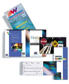four colored brochures